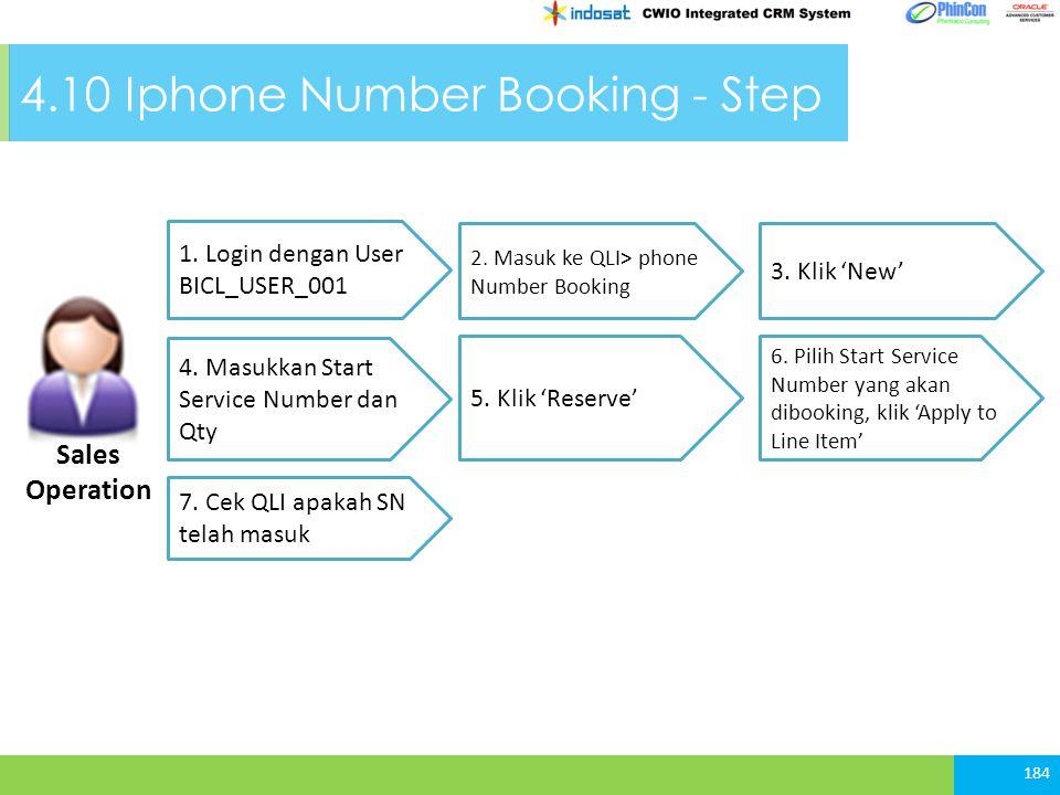 4.10 Iphone Number Booking - Step 184 1.Login dengan User BICL_USER_001 3.