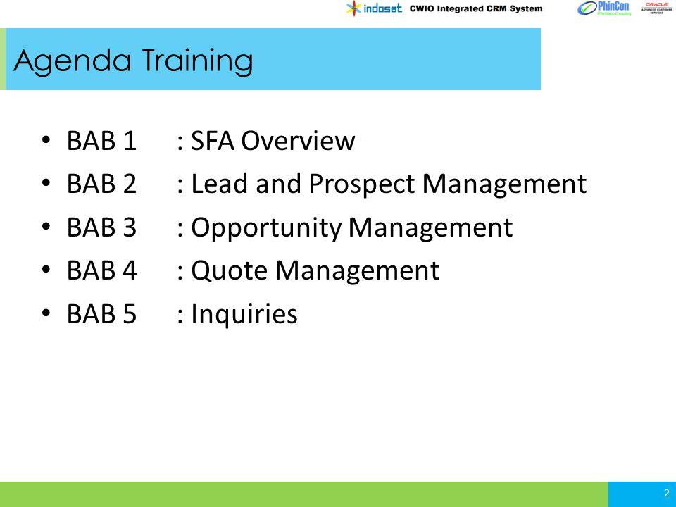 2.2 Lead Creation Lead dapat di-create melalui: - mass loader tools - UI lead screen Lead berisi informasi: - contact person/prospect yang akan dilakukan kualifikasi - lead status - sales team - owner - informasi company - Informasi lead qualification 13