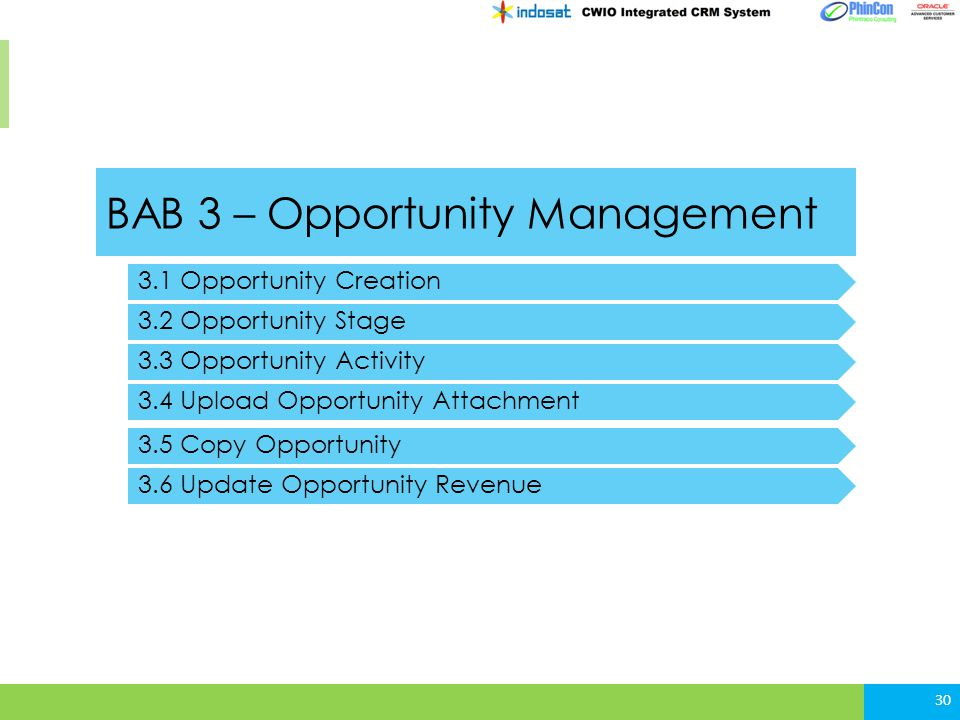 BAB 3 – Opportunity Management 3.1 Opportunity Creation 3.2 Opportunity Stage 3.3 Opportunity Activity 30 3.4 Upload Opportunity Attachment 3.5 Copy O