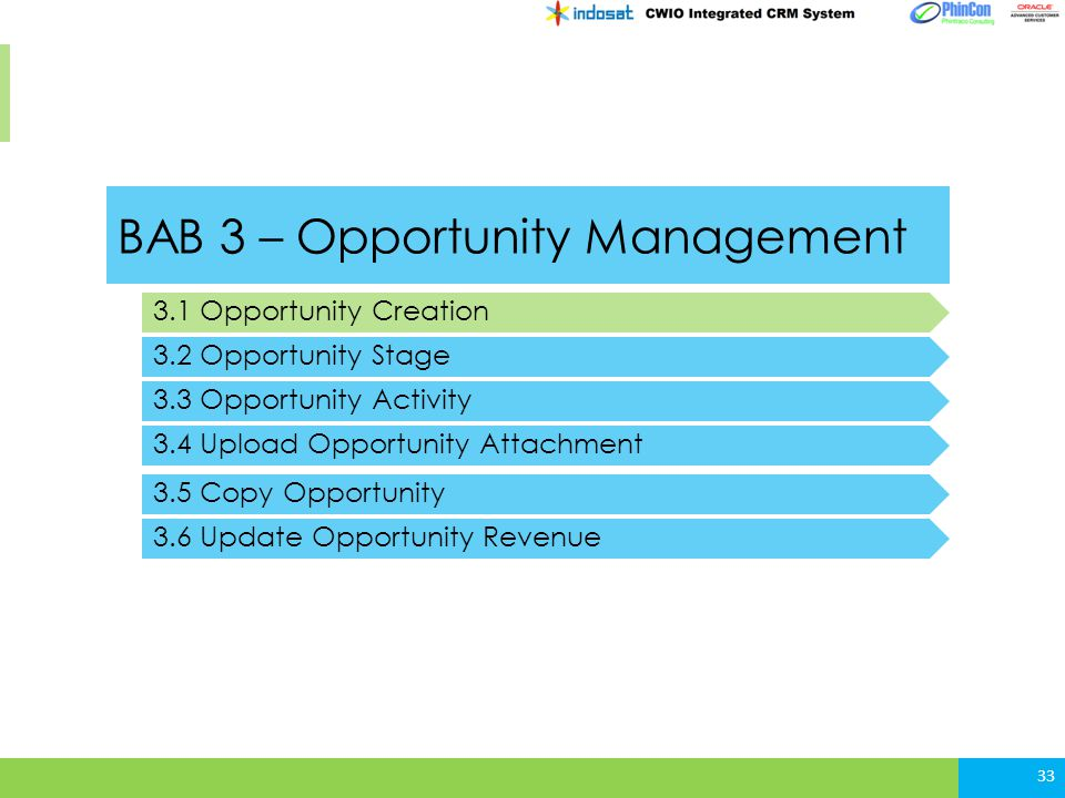 BAB 3 – Opportunity Management 3.1 Opportunity Creation 3.2 Opportunity Stage 3.3 Opportunity Activity 33 3.4 Upload Opportunity Attachment 3.5 Copy O