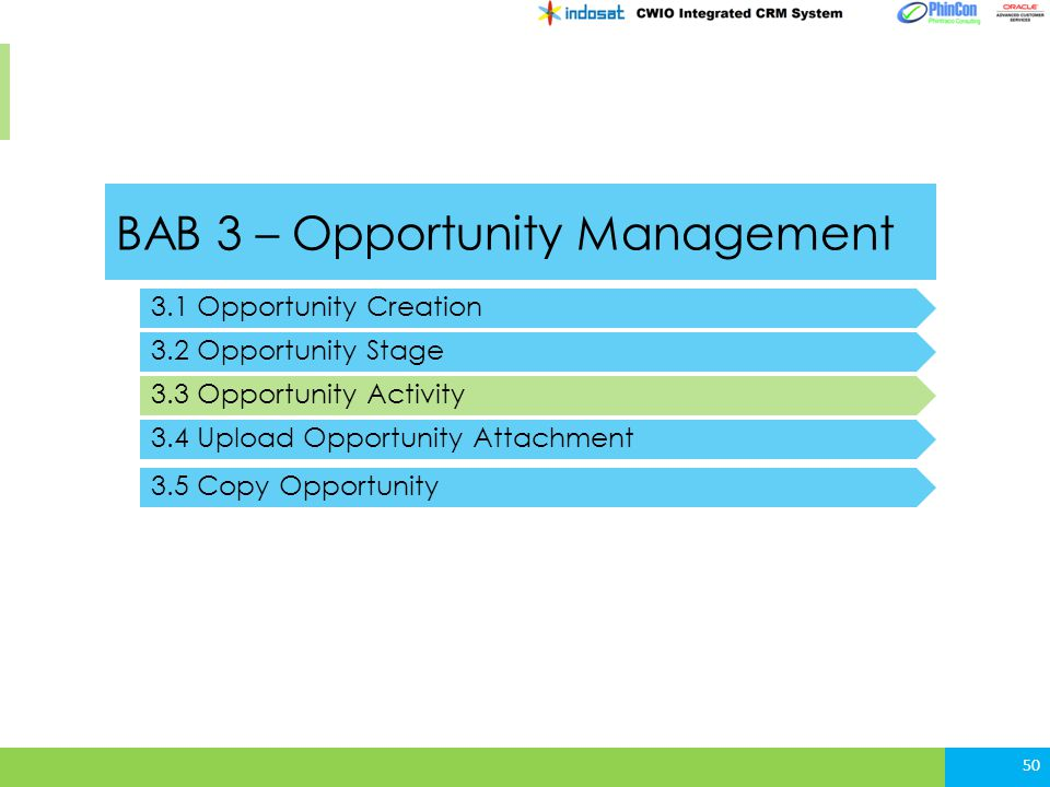 BAB 3 – Opportunity Management 3.1 Opportunity Creation 3.2 Opportunity Stage 3.3 Opportunity Activity 50 3.4 Upload Opportunity Attachment 3.5 Copy Opportunity