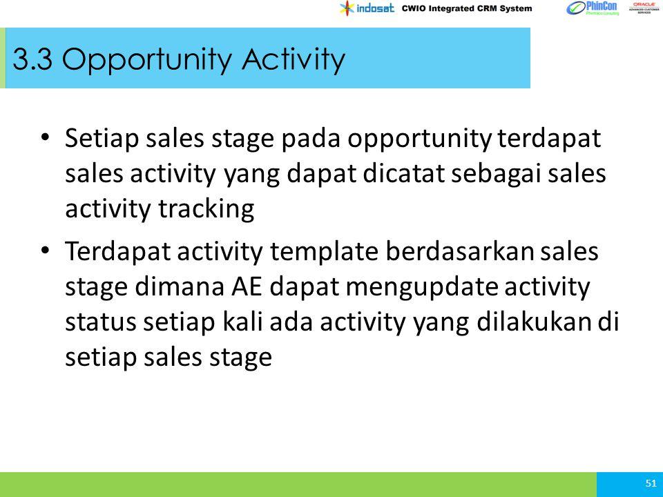 3.3 Opportunity Activity Setiap sales stage pada opportunity terdapat sales activity yang dapat dicatat sebagai sales activity tracking Terdapat activity template berdasarkan sales stage dimana AE dapat mengupdate activity status setiap kali ada activity yang dilakukan di setiap sales stage 51