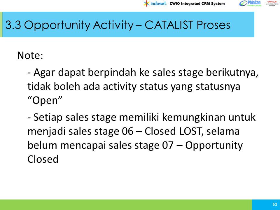 3.3 Opportunity Activity – CATALIST Proses Note: - Agar dapat berpindah ke sales stage berikutnya, tidak boleh ada activity status yang statusnya Open - Setiap sales stage memiliki kemungkinan untuk menjadi sales stage 06 – Closed LOST, selama belum mencapai sales stage 07 – Opportunity Closed 61