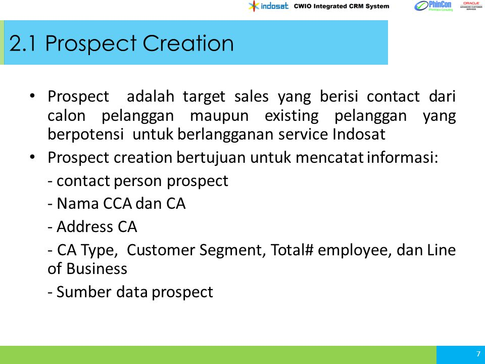 BAB 2 – Lead and Prospect Management 2.1 Prospect Creation 2.2 Lead Creation 2.3 Lead Qualification 18