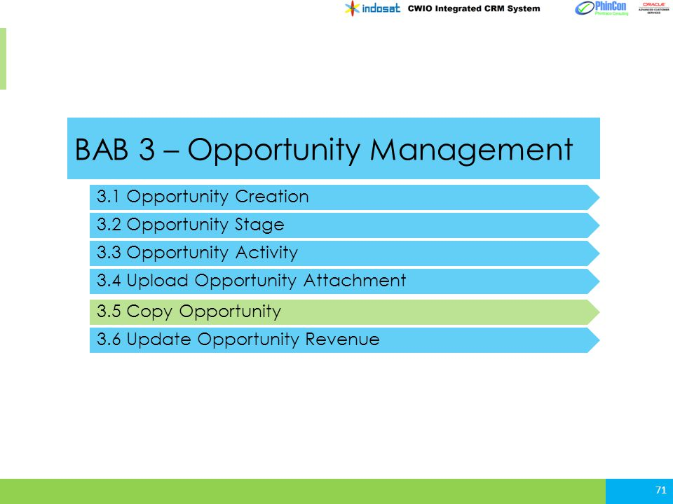BAB 3 – Opportunity Management 3.1 Opportunity Creation 3.2 Opportunity Stage 3.3 Opportunity Activity 71 3.4 Upload Opportunity Attachment 3.5 Copy O