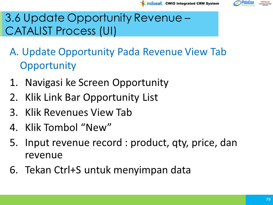 3.6 Update Opportunity Revenue – CATALIST Process (UI) 79 A. Update Opportunity Pada Revenue View Tab Opportunity 1.Navigasi ke Screen Opportunity 2.K