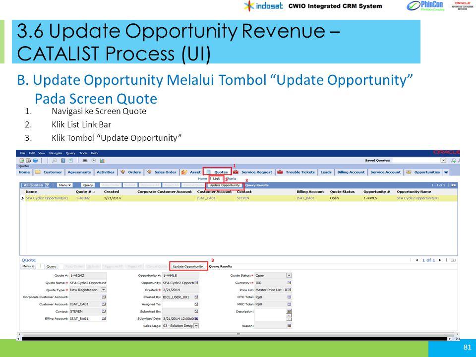 3.6 Update Opportunity Revenue – CATALIST Process (UI) 1.Navigasi ke Screen Quote 2.Klik List Link Bar 3.Klik Tombol Update Opportunity 81 B.
