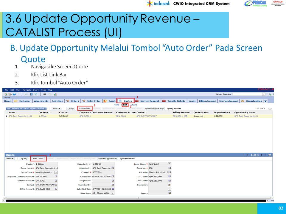 3.6 Update Opportunity Revenue – CATALIST Process (UI) 83 B.