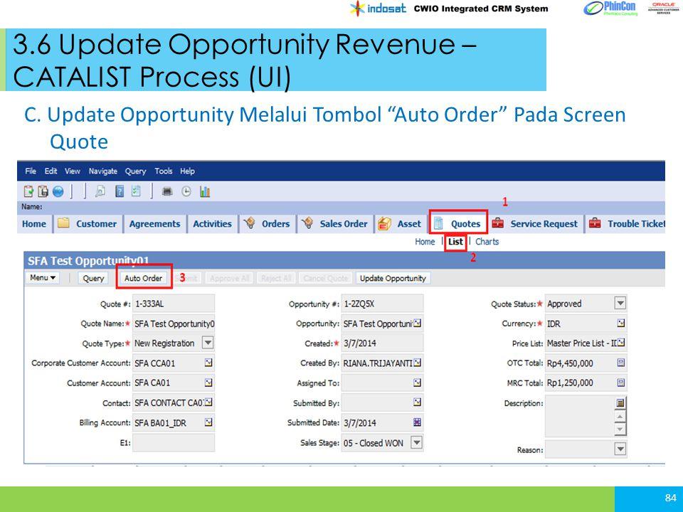 3.6 Update Opportunity Revenue – CATALIST Process (UI) 84 C.