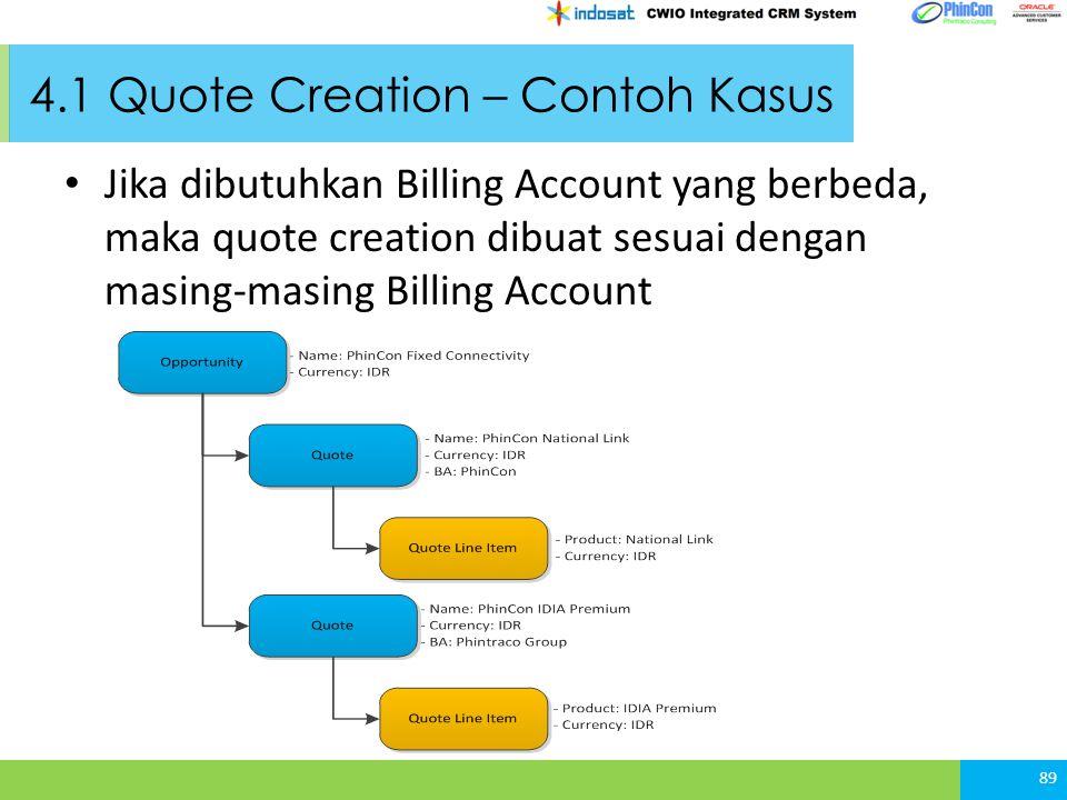 4.1 Quote Creation – Contoh Kasus Jika dibutuhkan Billing Account yang berbeda, maka quote creation dibuat sesuai dengan masing-masing Billing Account 89