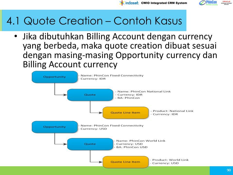 4.1 Quote Creation – Contoh Kasus Jika dibutuhkan Billing Account dengan currency yang berbeda, maka quote creation dibuat sesuai dengan masing-masing Opportunity currency dan Billing Account currency 90