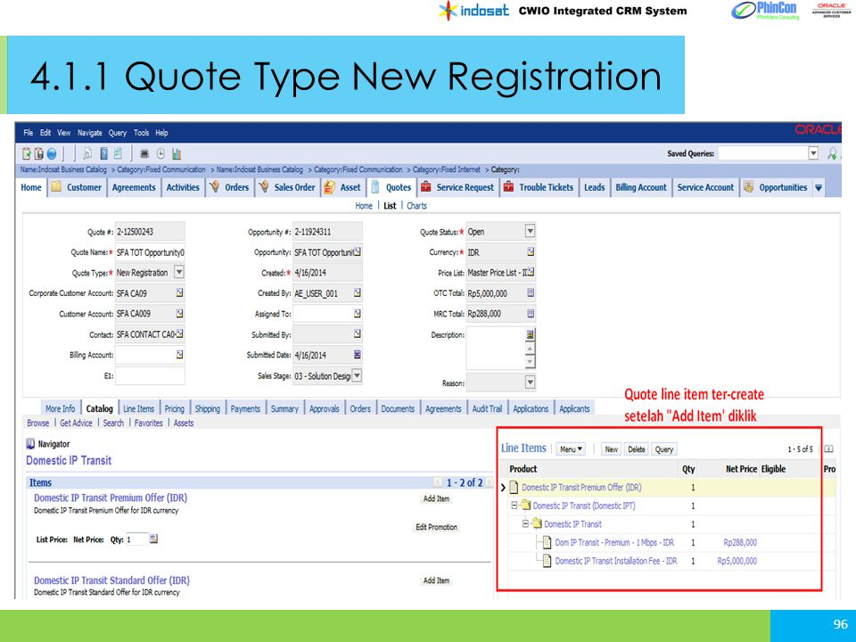 4.1.1 Quote Type New Registration 96