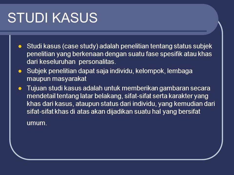 STUDI KASUS Studi kasus (case study) adalah penelitian tentang status subjek penelitian yang berkenaan dengan suatu fase spesifik atau khas dari kesel