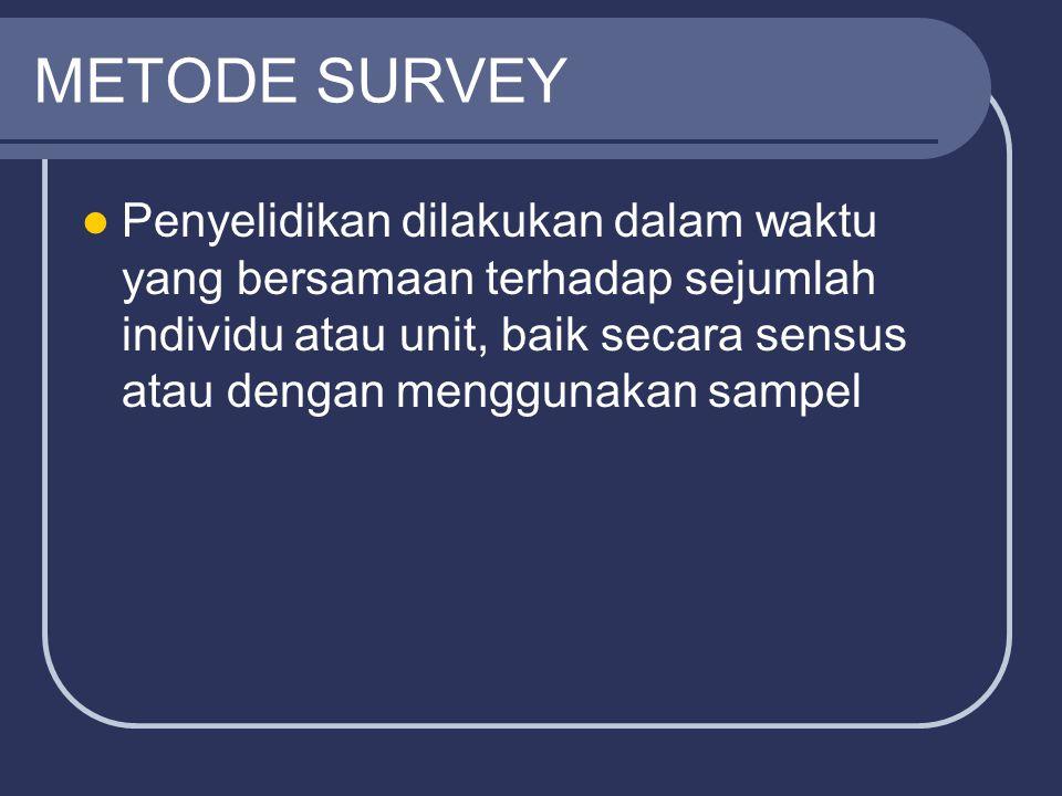 METODE SURVEY Penyelidikan dilakukan dalam waktu yang bersamaan terhadap sejumlah individu atau unit, baik secara sensus atau dengan menggunakan sampe