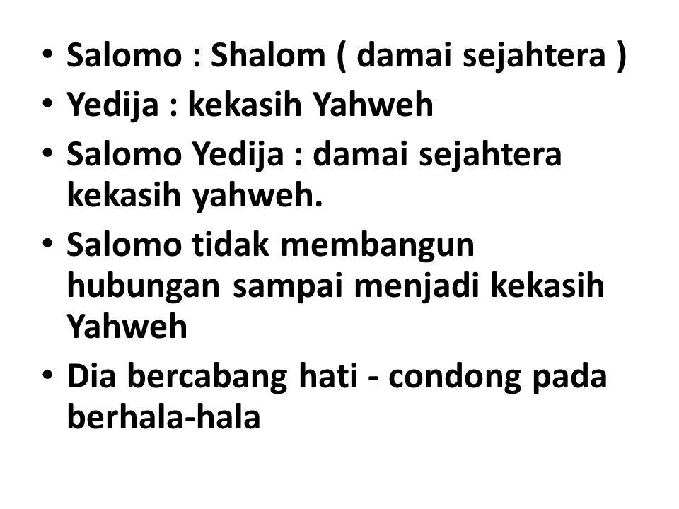 Salomo : Shalom ( damai sejahtera ) Yedija : kekasih Yahweh Salomo Yedija : damai sejahtera kekasih yahweh.