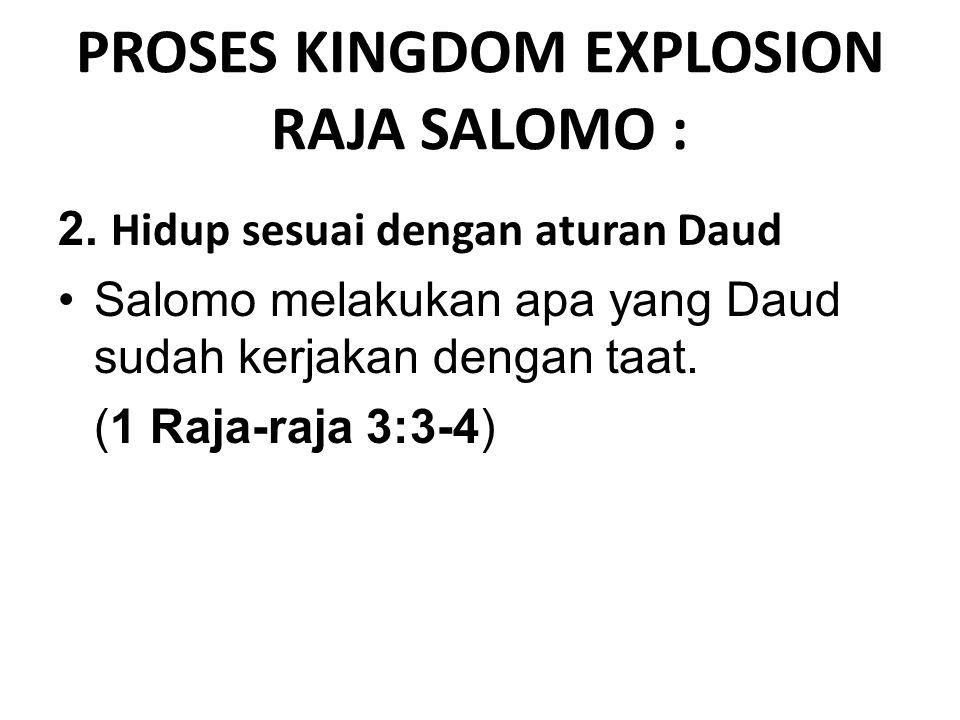 1 Raja-raja 3:3-4 Dan Salomo menunjukkan kasihnya kepada TUHAN dengan hidup menurut ketetapan- ketetapan Daud, ayahnya; hanya, ia masih mempersembahkan korban sembelihan dan ukupan di bukit-bukit pengorbanan.