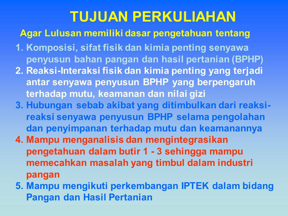 TUJUAN PERKULIAHAN 1.Komposisi, sifat fisik dan kimia penting senyawa penyusun bahan pangan dan hasil pertanian (BPHP) 2.Reaksi-Interaksi fisik dan ki