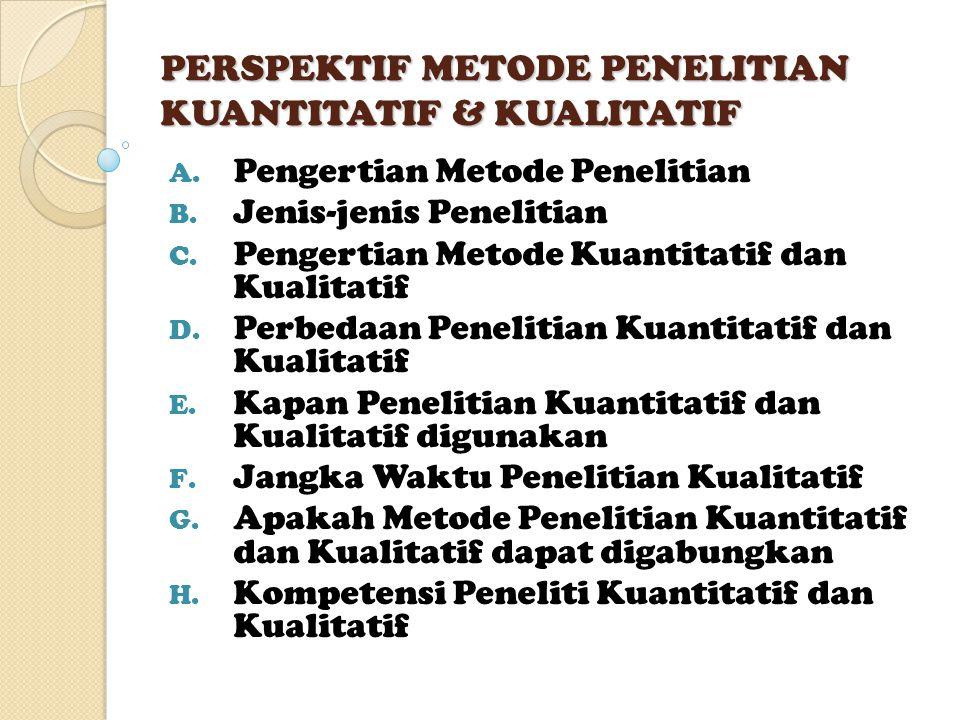 PERSPEKTIF METODE PENELITIAN KUANTITATIF & KUALITATIF A. Pengertian Metode Penelitian B. Jenis-jenis Penelitian C. Pengertian Metode Kuantitatif dan K