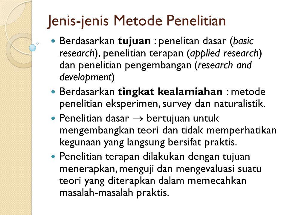 Jenis-jenis Metode Penelitian Berdasarkan tujuan : penelitan dasar (basic research), penelitian terapan (applied research) dan penelitian pengembangan