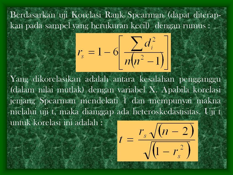 *) berdasarkan uji Park, hasil analisis regres untuk menak- sir model Y i =  +  X i +  i diperoleh  = 36,429; R 2 = 0,845;  = 0,0589 dengan S b =