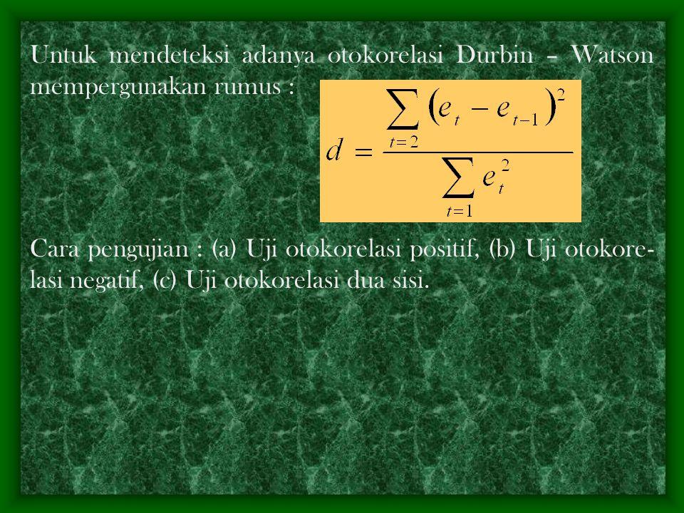variabel penjelas); (3) kesalahan spesifikasi bentuk model matematis yang dipilih sebagai model empiris : misalnya yang seharusnya model itu non linie