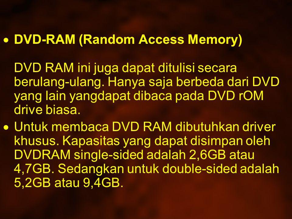  DVD-RAM (Random Access Memory) DVD RAM ini juga dapat ditulisi secara berulang-ulang.