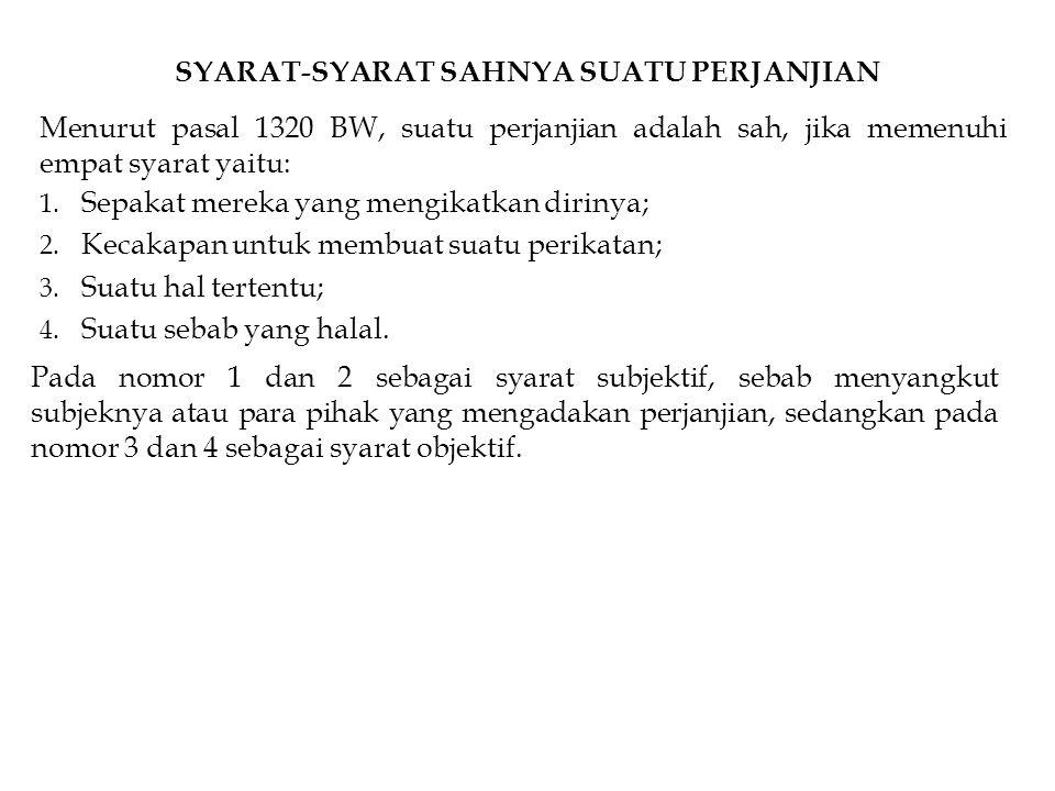 SYARAT-SYARAT SAHNYA SUATU PERJANJIAN Menurut pasal 1320 BW, suatu perjanjian adalah sah, jika memenuhi empat syarat yaitu: 1. Sepakat mereka yang men