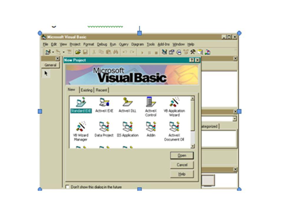 LINGKUNGAN VISUAL BASIC 6.0 Setelah Visual Basic dijalankan, akan muncul sebuah layar seperti Gambar 1.2.
