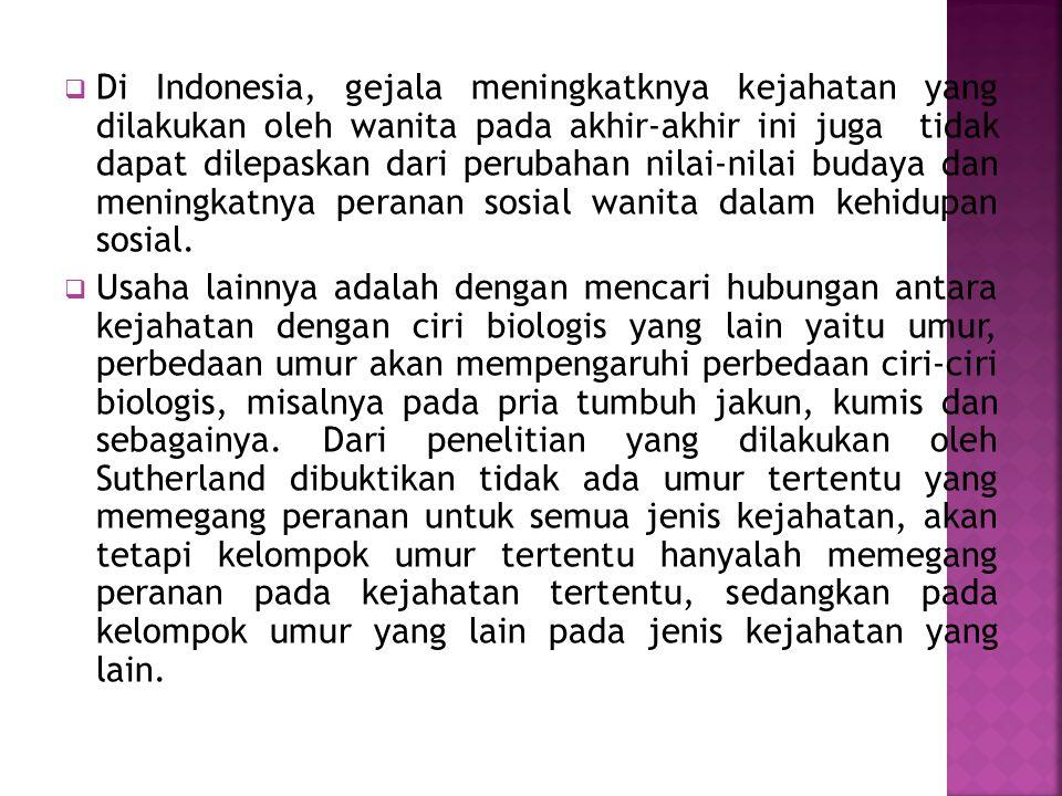  Di Indonesia, gejala meningkatknya kejahatan yang dilakukan oleh wanita pada akhir-akhir ini juga tidak dapat dilepaskan dari perubahan nilai-nilai