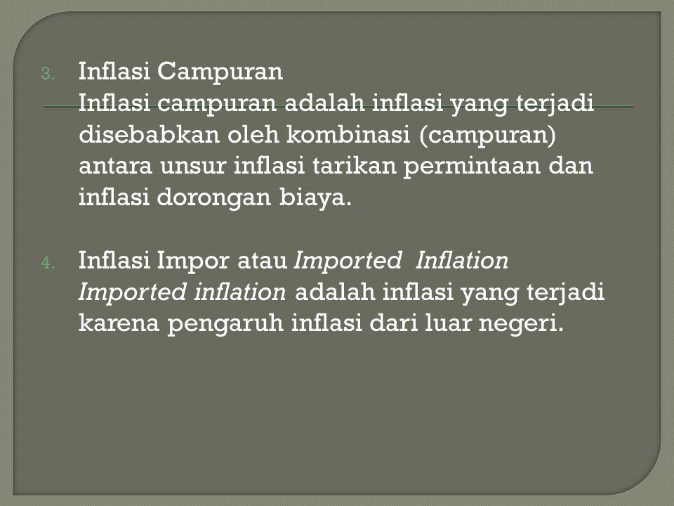 3. Inflasi Campuran Inflasi campuran adalah inflasi yang terjadi disebabkan oleh kombinasi (campuran) antara unsur inflasi tarikan permintaan dan infl