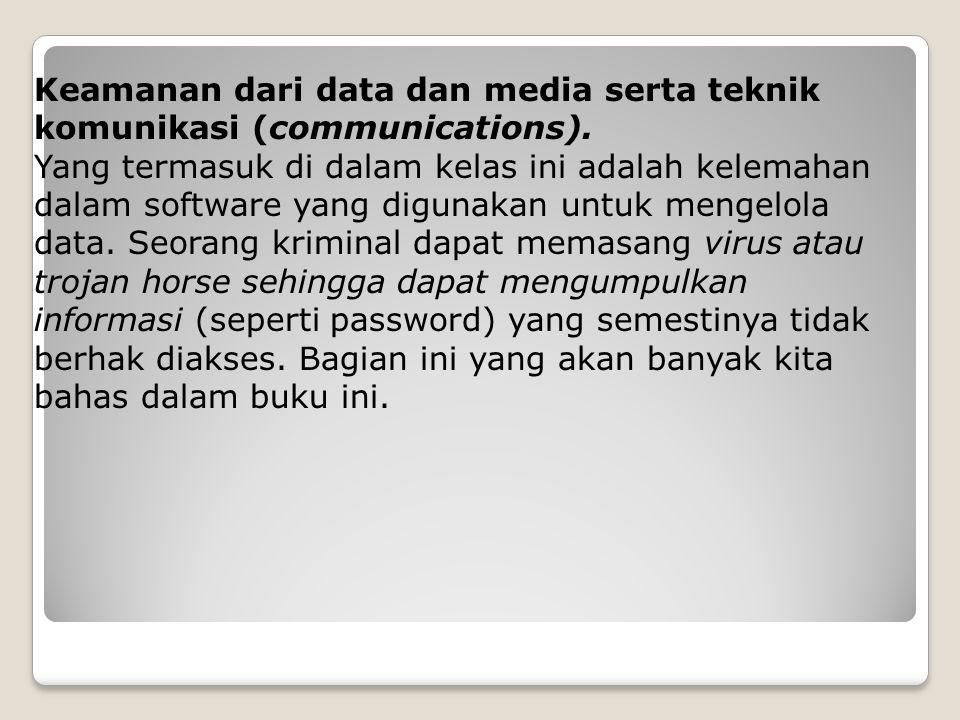 Keamanan dari data dan media serta teknik komunikasi (communications). Yang termasuk di dalam kelas ini adalah kelemahan dalam software yang digunakan