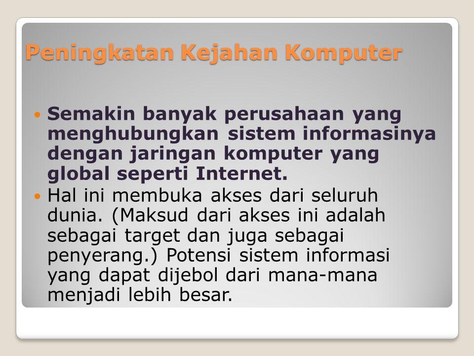 Peningkatan Kejahan Komputer Semakin banyak perusahaan yang menghubungkan sistem informasinya dengan jaringan komputer yang global seperti Internet. H