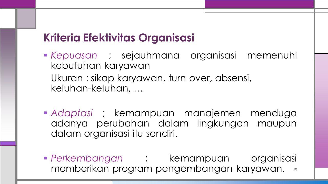 Kriteria Efektivitas Organisasi  Kepuasan ; sejauhmana organisasi memenuhi kebutuhan karyawan Ukuran : sikap karyawan, turn over, absensi, keluhan-ke
