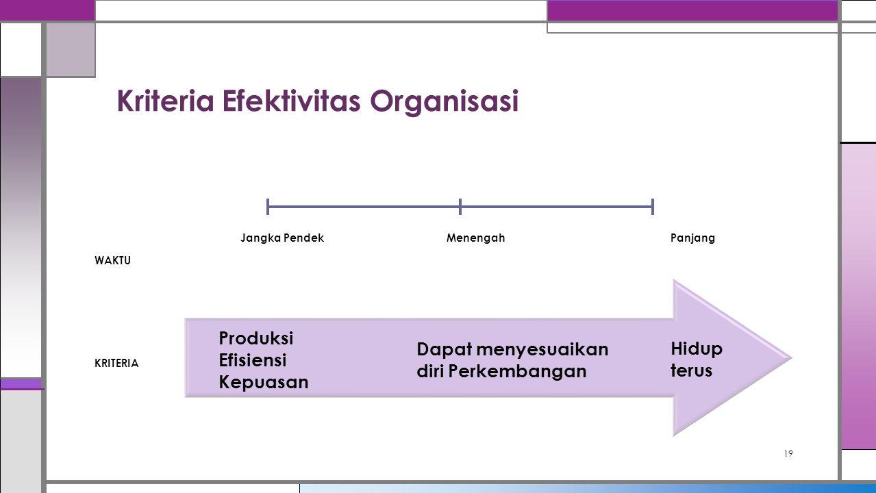 Kriteria Efektivitas Organisasi 19 Produksi Efisiensi Kepuasan Dapat menyesuaikan diri Perkembangan Hidup terus KRITERIA WAKTU Jangka PendekMenengahPa