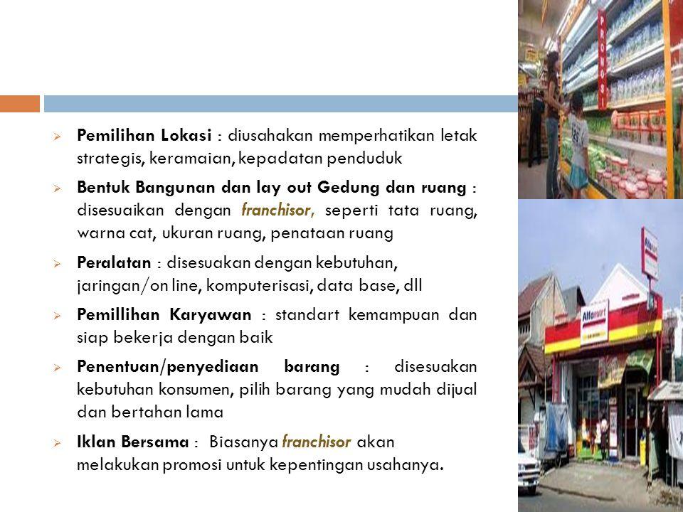  Pemilihan Lokasi : diusahakan memperhatikan letak strategis, keramaian, kepadatan penduduk  Bentuk Bangunan dan lay out Gedung dan ruang : disesuai
