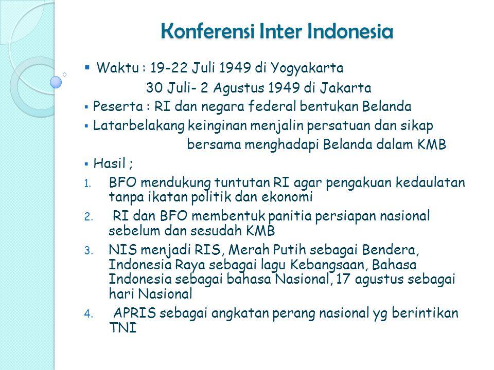 Konferensi Inter Indonesia  Waktu : 19-22 Juli 1949 di Yogyakarta 30 Juli- 2 Agustus 1949 di Jakarta  Peserta : RI dan negara federal bentukan Belan
