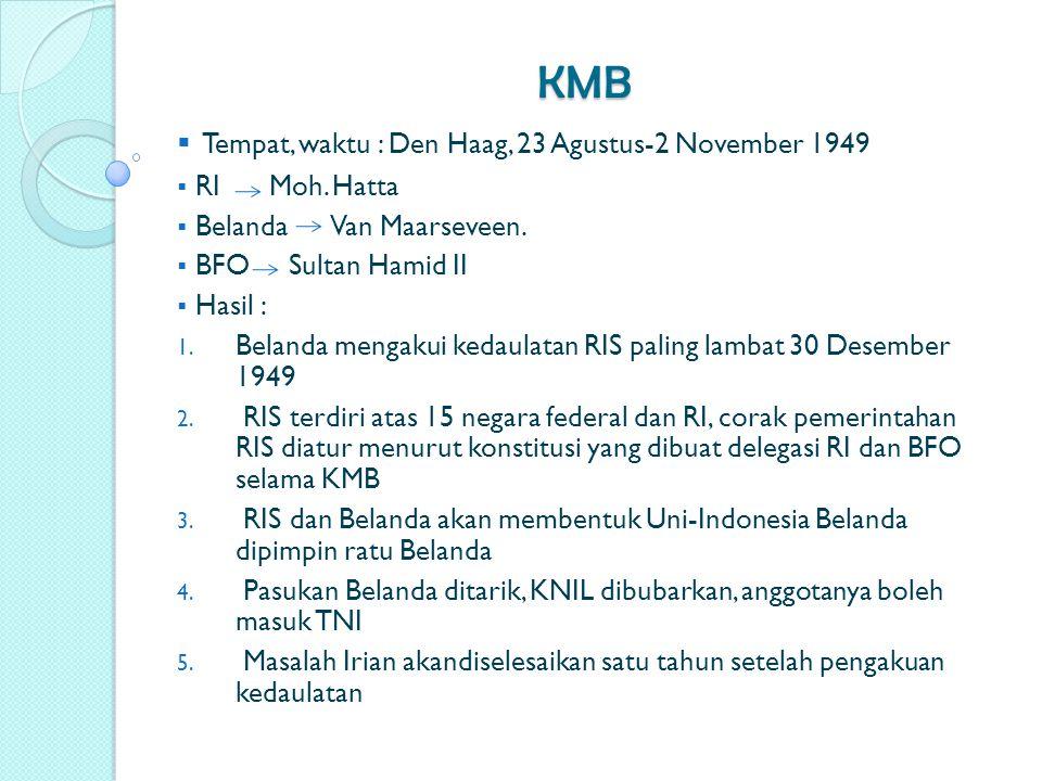 KMB  Tempat, waktu : Den Haag, 23 Agustus-2 November 1949  RI Moh. Hatta  Belanda Van Maarseveen.  BFO Sultan Hamid II  Hasil : 1. Belanda mengak