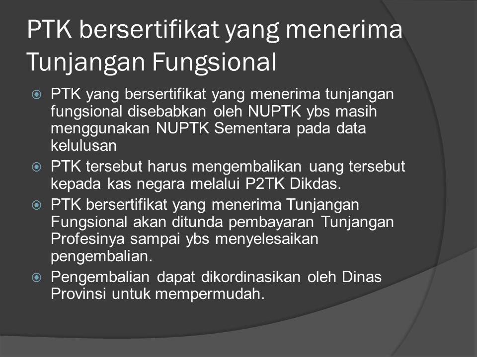 PTK bersertifikat yang menerima Tunjangan Fungsional  PTK yang bersertifikat yang menerima tunjangan fungsional disebabkan oleh NUPTK ybs masih mengg