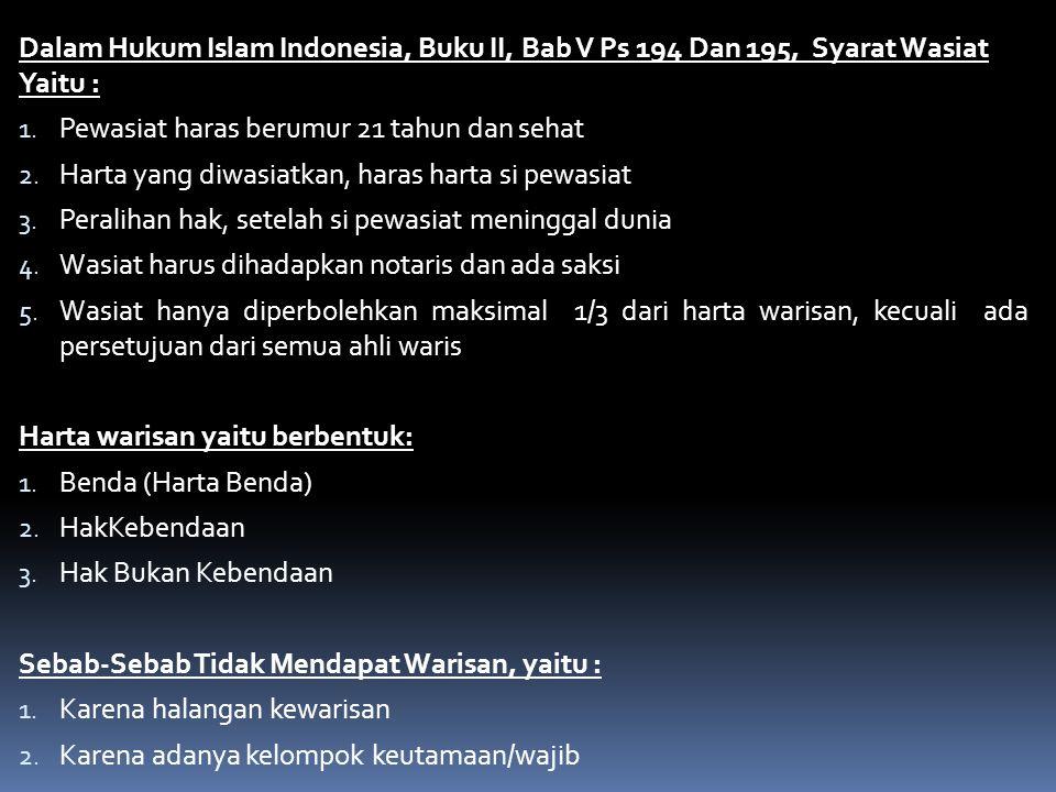 Dalam Hukum Islam Indonesia, Buku II, Bab V Ps 194 Dan 195, Syarat Wasiat Yaitu : 1. Pewasiat haras berumur 21 tahun dan sehat 2. Harta yang diwasiatk
