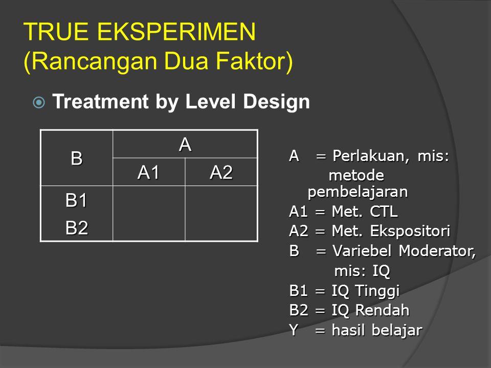 TRUE EKSPERIMEN (Rancangan Dua Faktor)  Treatment by Level Design B A A1A2 B1B2 A = Perlakuan, mis: metode pembelajaran metode pembelajaran A1 = Met.