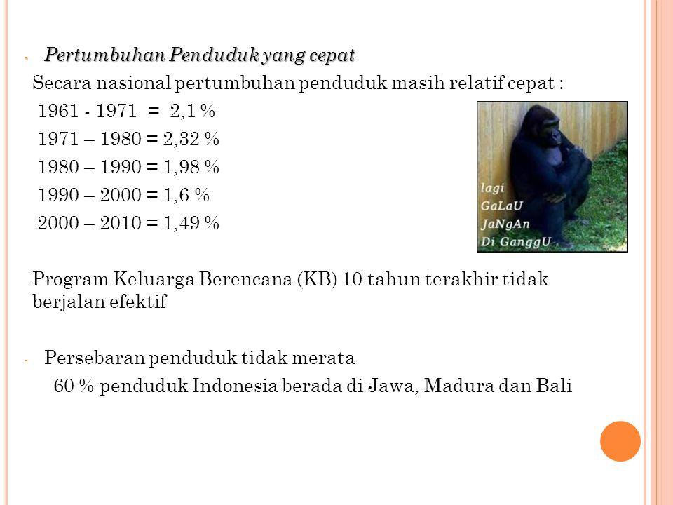 - Pertumbuhan Penduduk yang cepat Secara nasional pertumbuhan penduduk masih relatif cepat : 1961 - 1971 = 2,1 % 1971 – 1980 = 2,32 % 1980 – 1990 = 1,98 % 1990 – 2000 = 1,6 % 2000 – 2010 = 1,49 % Program Keluarga Berencana (KB) 10 tahun terakhir tidak berjalan efektif - Persebaran penduduk tidak merata 60 % penduduk Indonesia berada di Jawa, Madura dan Bali