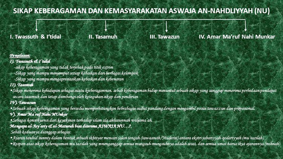 SIKAP KEBERAGAMAN DAN KEMASYARAKATAN ASWAJA AN-NAHDLIYYAH (NU) I. Twassuth & I'tidal II. Tasamuh III. Tawazun IV. Amar Ma'ruf Nahi Munkar Penjelasan: