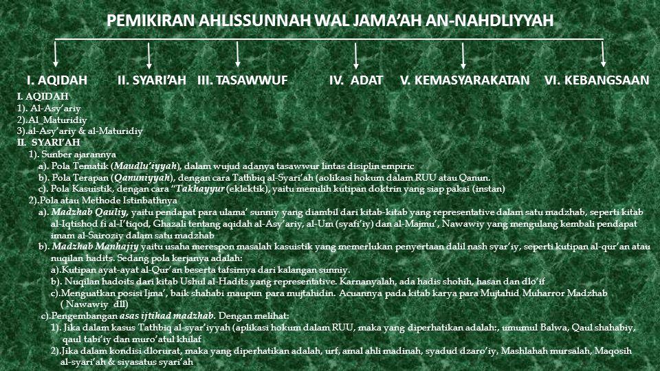PEMIKIRAN AHLISSUNNAH WAL JAMA'AH AN-NAHDLIYYAH I. AQIDAH II. SYARI'AH III. TASAWWUF IV. ADAT V. KEMASYARAKATAN VI. KEBANGSAAN I. AQIDAH 1). Al-Asy'ar
