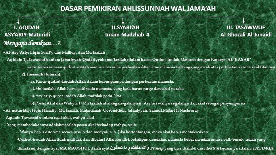 DASAR PEMIKIRAN AHLISSUNNAH WAL JAMA'AH I. AQIDAH II.SYARI'AH III. TASAWWUF ASY'ARIY-Maturidi Imam Madzhab 4 Al-Ghozali-Al-Junaidi Mengapa demikian…?.