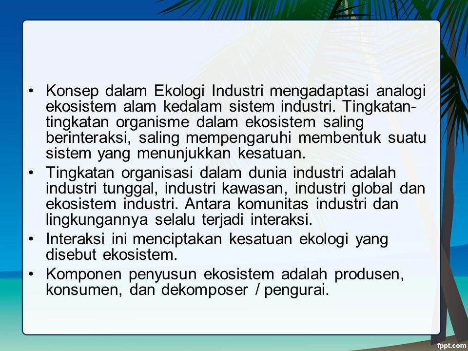 Konsep dalam Ekologi Industri mengadaptasi analogi ekosistem alam kedalam sistem industri. Tingkatan- tingkatan organisme dalam ekosistem saling berin