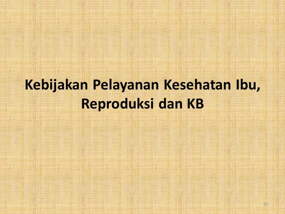 Kebijakan Pelayanan Kesehatan Ibu, Reproduksi dan KB 15