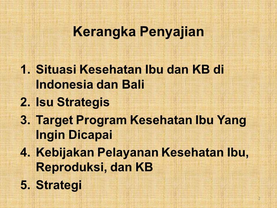 Kerangka Penyajian 1.Situasi Kesehatan Ibu dan KB di Indonesia dan Bali 2.Isu Strategis 3.Target Program Kesehatan Ibu Yang Ingin Dicapai 4.Kebijakan Pelayanan Kesehatan Ibu, Reproduksi, dan KB 5.Strategi 2