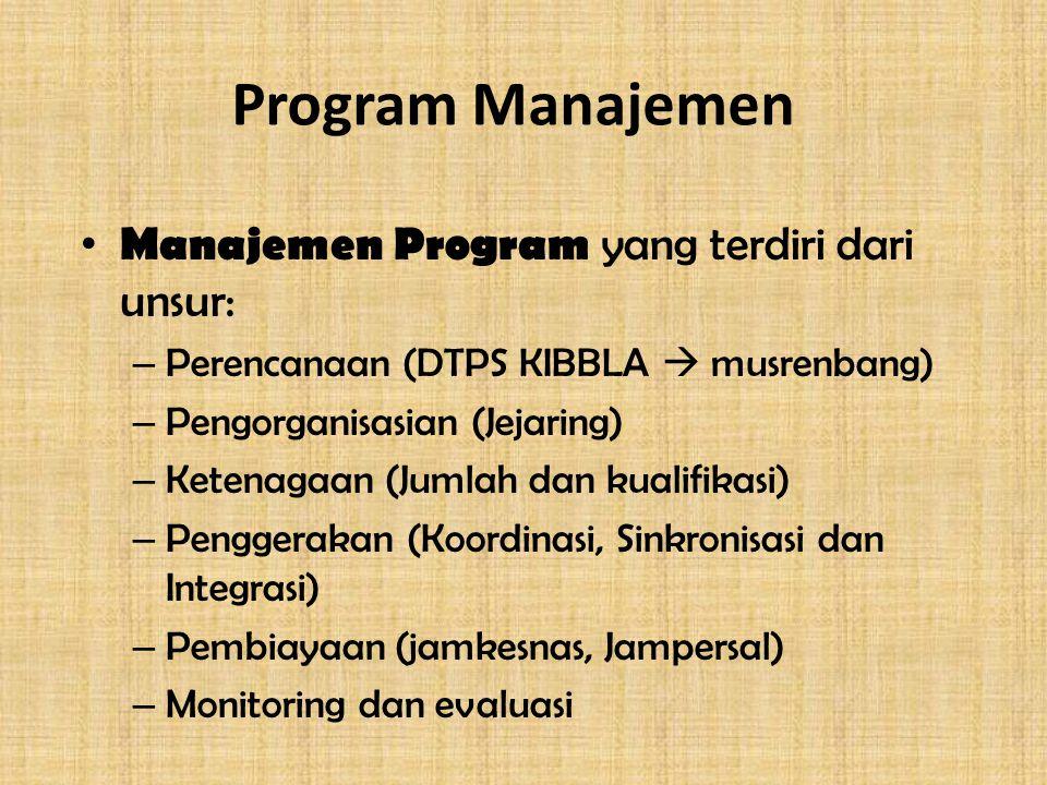 Program Manajemen Manajemen Program yang terdiri dari unsur: – Perencanaan (DTPS KIBBLA  musrenbang) – Pengorganisasian (Jejaring) – Ketenagaan (Jumlah dan kualifikasi) – Penggerakan (Koordinasi, Sinkronisasi dan Integrasi) – Pembiayaan (jamkesnas, Jampersal) – Monitoring dan evaluasi