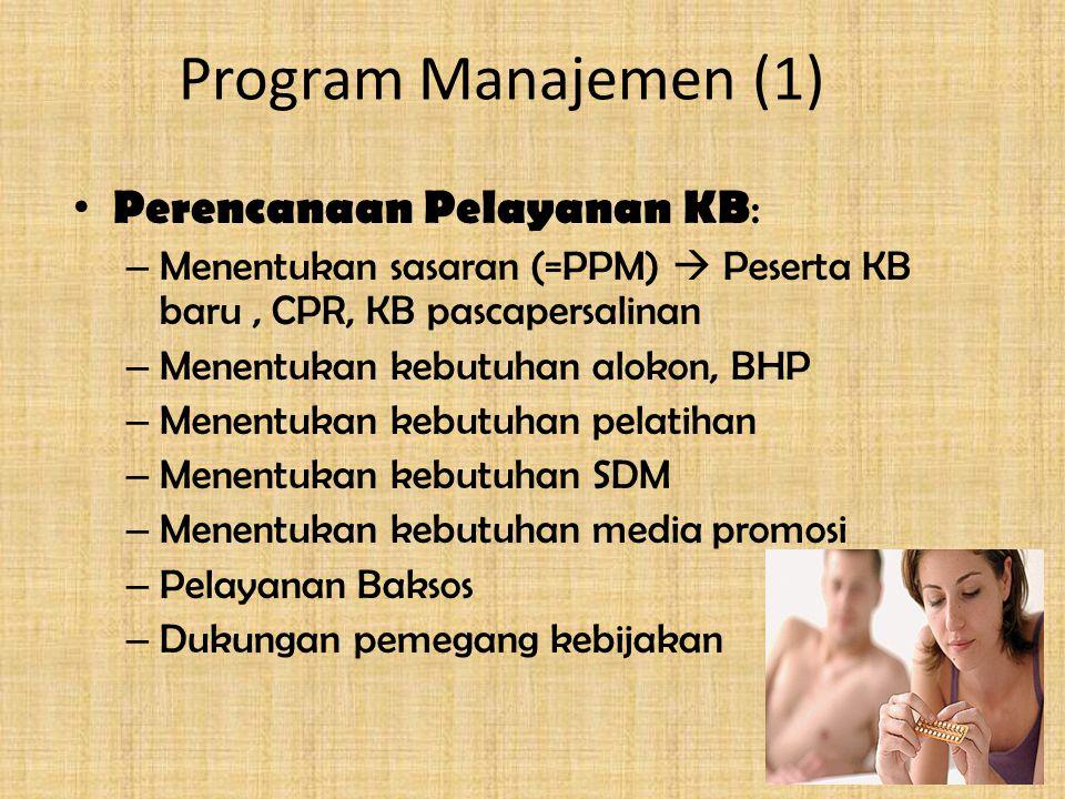 Program Manajemen (1) Perencanaan Pelayanan KB : – Menentukan sasaran (=PPM)  Peserta KB baru, CPR, KB pascapersalinan – Menentukan kebutuhan alokon, BHP – Menentukan kebutuhan pelatihan – Menentukan kebutuhan SDM – Menentukan kebutuhan media promosi – Pelayanan Baksos – Dukungan pemegang kebijakan