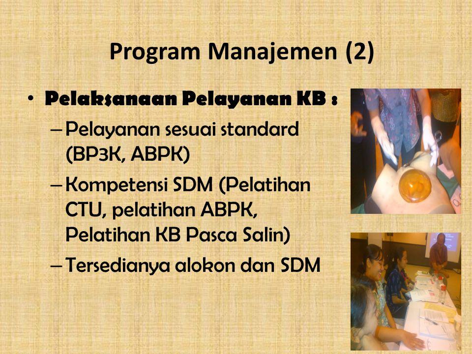 Program Manajemen (2) Pelaksanaan Pelayanan KB : – Pelayanan sesuai standard (BP3K, ABPK) – Kompetensi SDM (Pelatihan CTU, pelatihan ABPK, Pelatihan KB Pasca Salin) – Tersedianya alokon dan SDM
